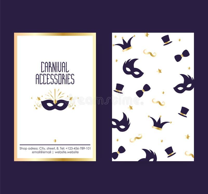 Partido do carnaval e inseto ou convite do cartaz da ilustração do vetor dos acessórios Carnaval ou máscaras e chapéus azuis do f ilustração royalty free