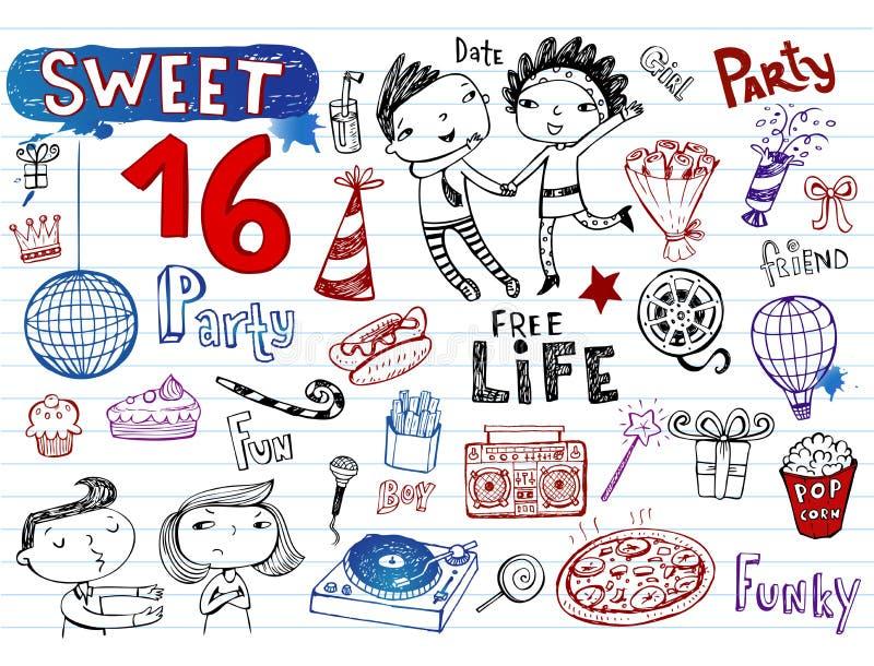 Partido do doce 16, grupo da garatuja ilustração stock