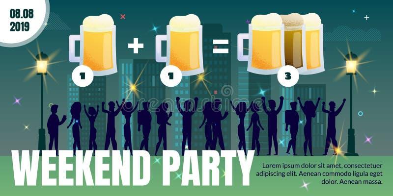 Partido do fim de semana no cartaz liso do anúncio do vetor do bar da cidade ilustração stock