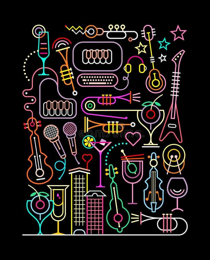 Partido do karaoke ilustração stock