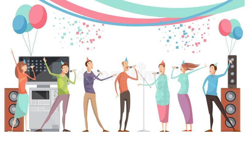 Partido do karaoke liso ilustração royalty free