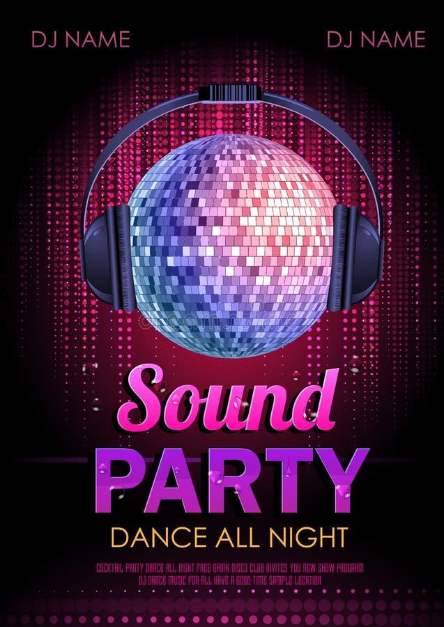 Partido do som do cartaz do disco ilustração royalty free