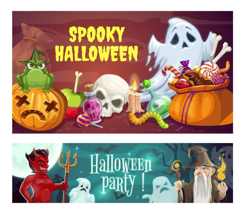 Partido, doces e diabo de Dia das Bruxas Feiticeiro, fantasmas ilustração royalty free