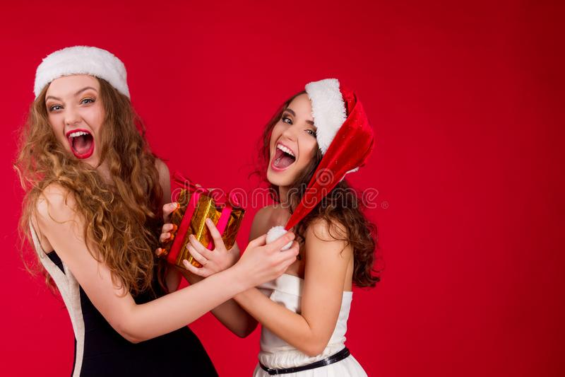 Partido dos amigos do ano novo e do Feliz Natal foto de stock