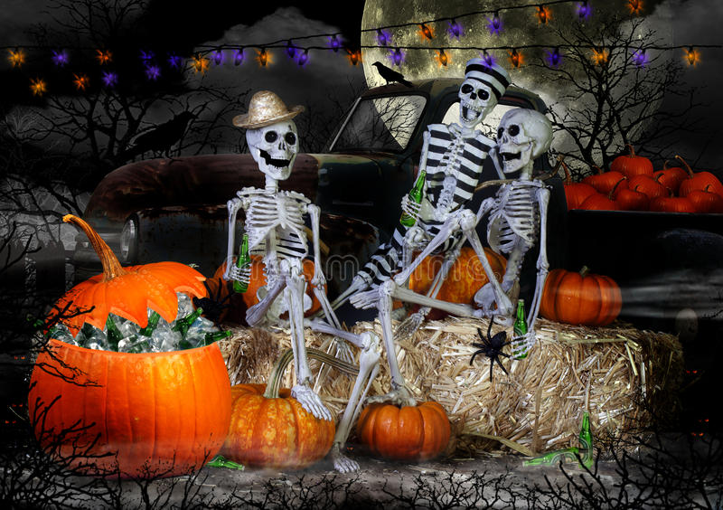 Partido dos esqueletos de Dia das Bruxas foto de stock