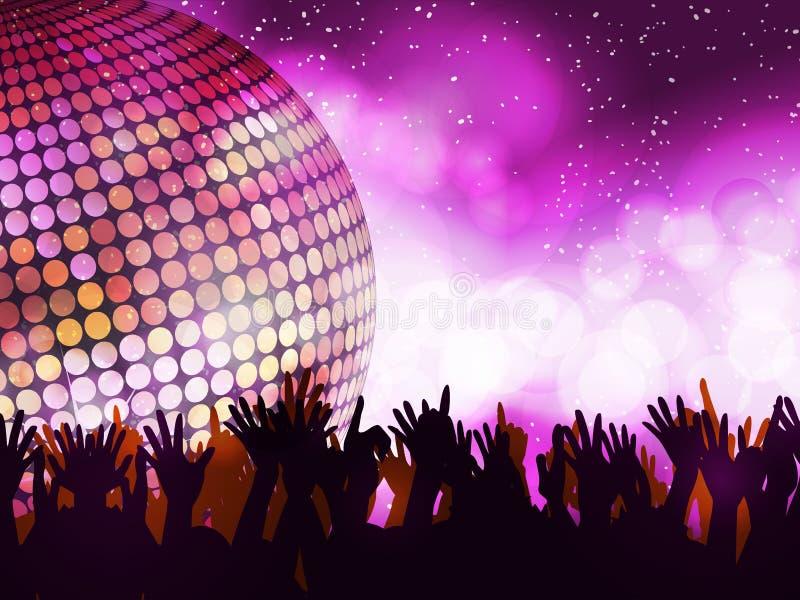 Partido e multidão de incandescência de disco ilustração royalty free