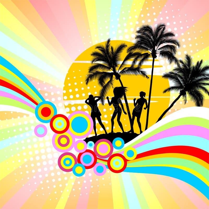 Download Partido em uma praia ilustração do vetor. Ilustração de dançar - 10058482