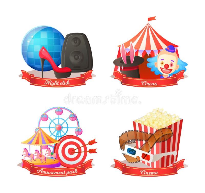 Partido en el club nocturno y el circo, parque de atracciones ilustración del vector