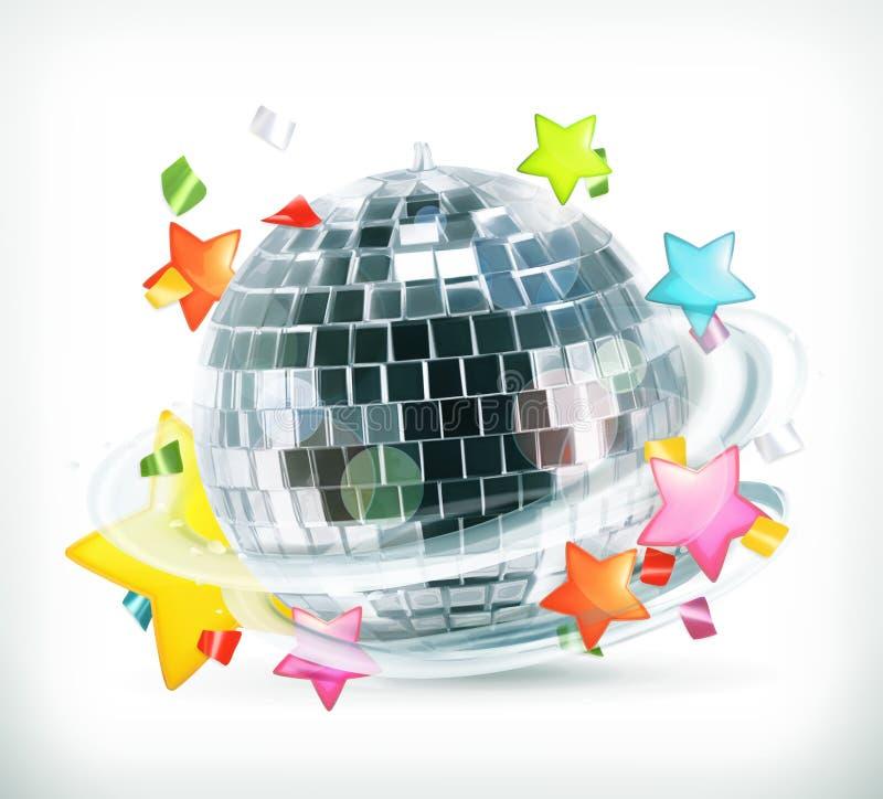 Partido, estrellas y bola de discoteca ilustración del vector
