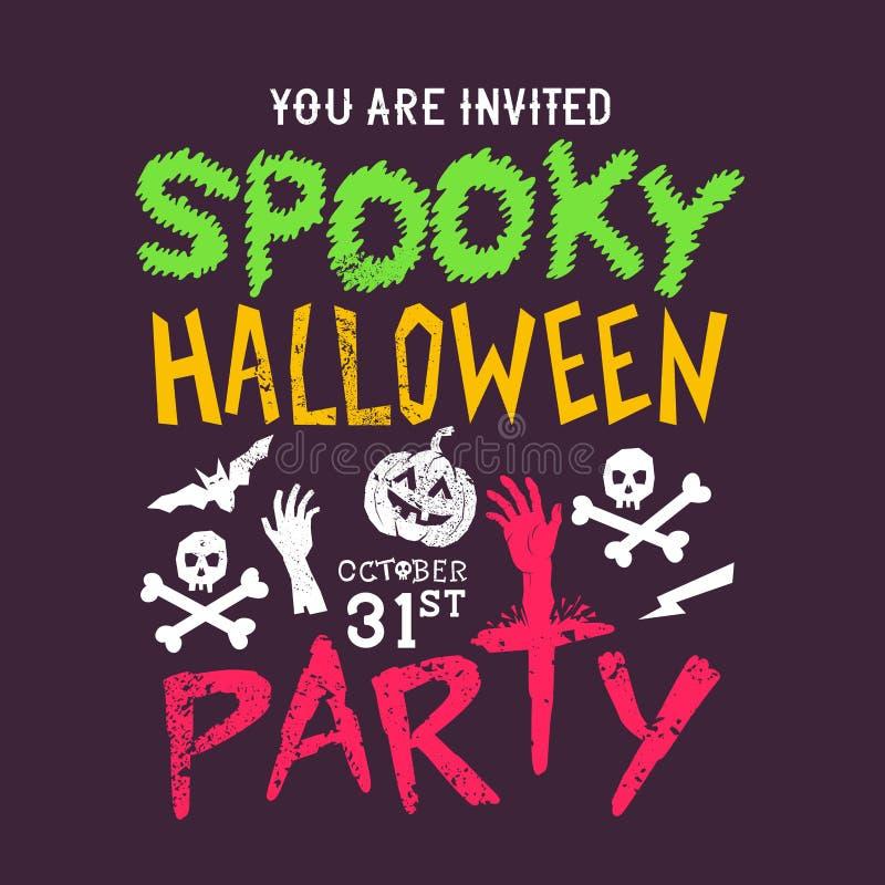 Partido fantasmagórico de Halloween stock de ilustración