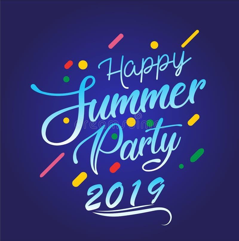 Partido feliz 2019 del verano Logotipo multicolor del vector en fondo azul marino Sun e inscripci?n manuscrita ilustración del vector