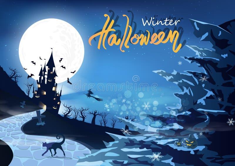 Partido feliz do Dia das Bruxas, conceito de queda dos flocos de neve do inverno, fantasia místico da silhueta do castelo com mon ilustração do vetor