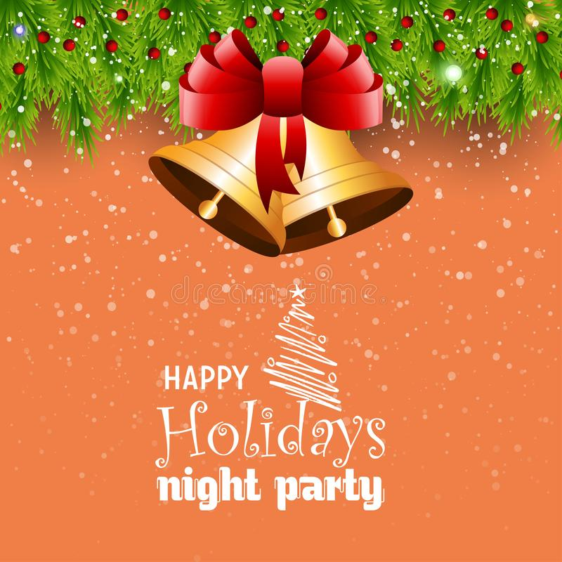 Partido feliz Jingle Bell Bokeh Border da noite do feriado ilustração do vetor