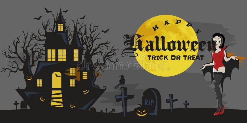 Partido gótico de Halloween con la muchacha del vampiro, fondo de la diversión para la invitación del horror ilustración del vector