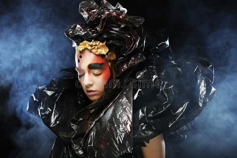 Partido g?tico bonito escuro de Princess Fim acima Conceito do partido de Dia das Bruxas fotografia de stock