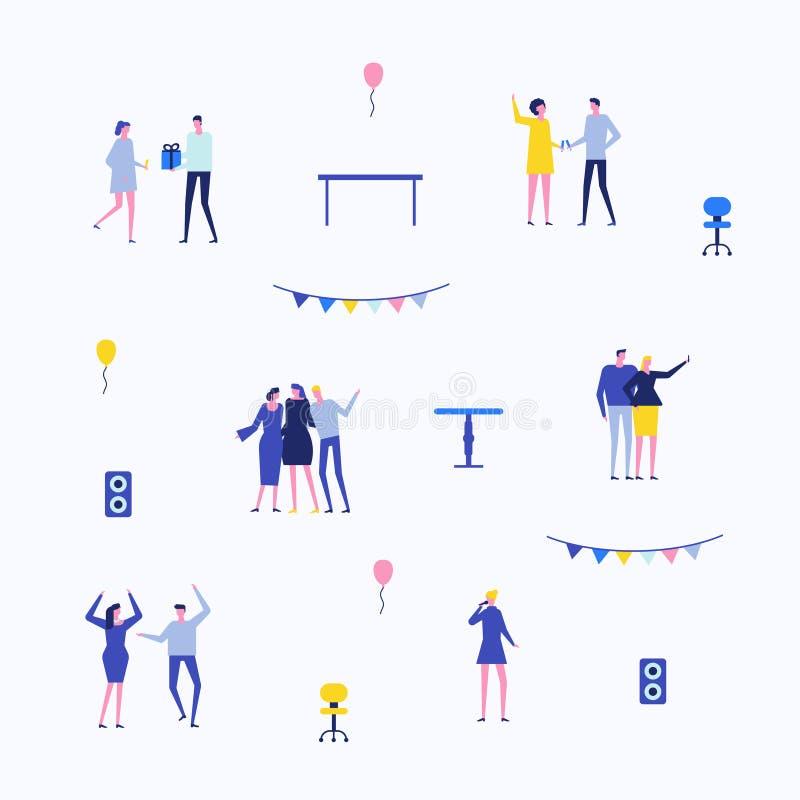 Partido - grupo liso do estilo do projeto de elementos isolados ilustração royalty free