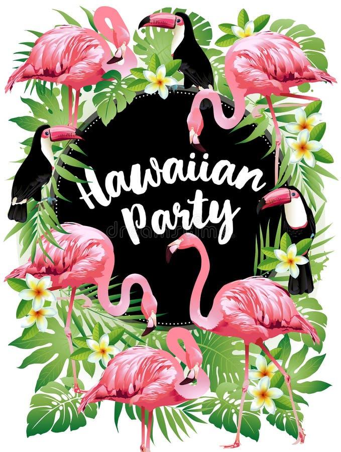 Partido havaiano Vector a ilustração de pássaros tropicais, flores, folhas ilustração royalty free