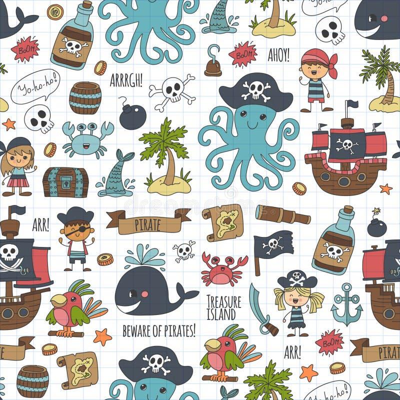 Partido inconsútil del pirata del modelo del vector para la guardería de los niños stock de ilustración