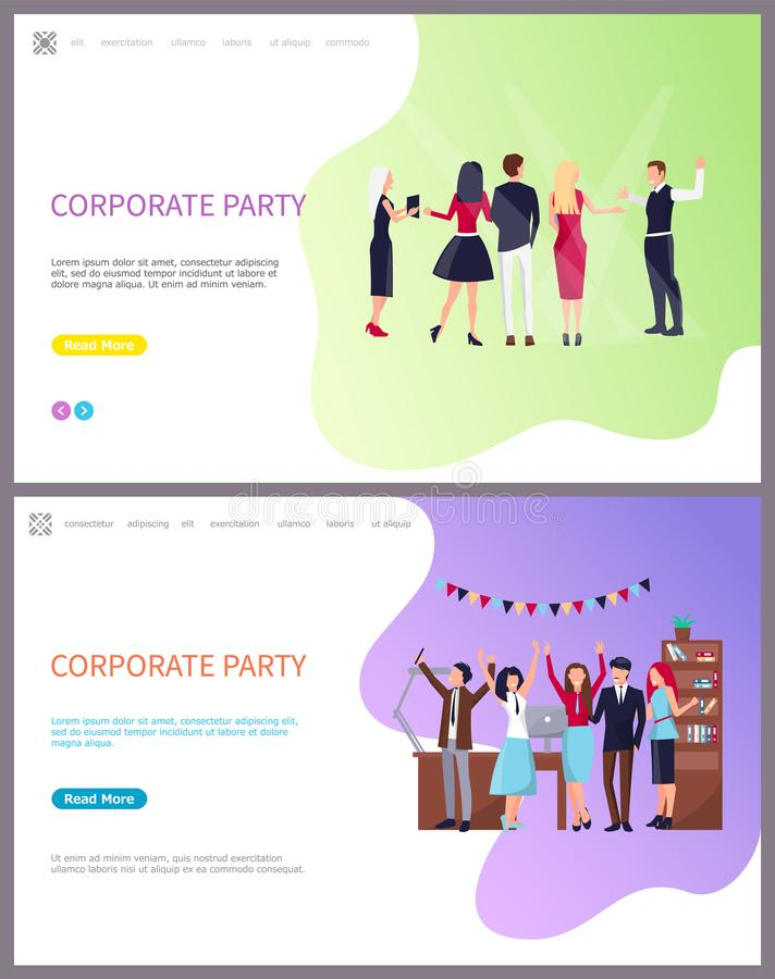 Partido incorporado, colegas de trabalho que comemoram o feriado ilustração stock