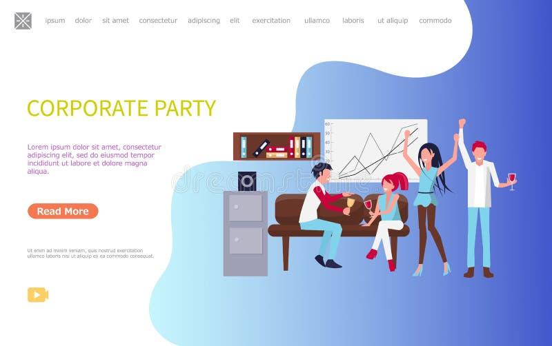 Partido incorporado dos homens e das mulheres após o vetor do dia útil ilustração stock