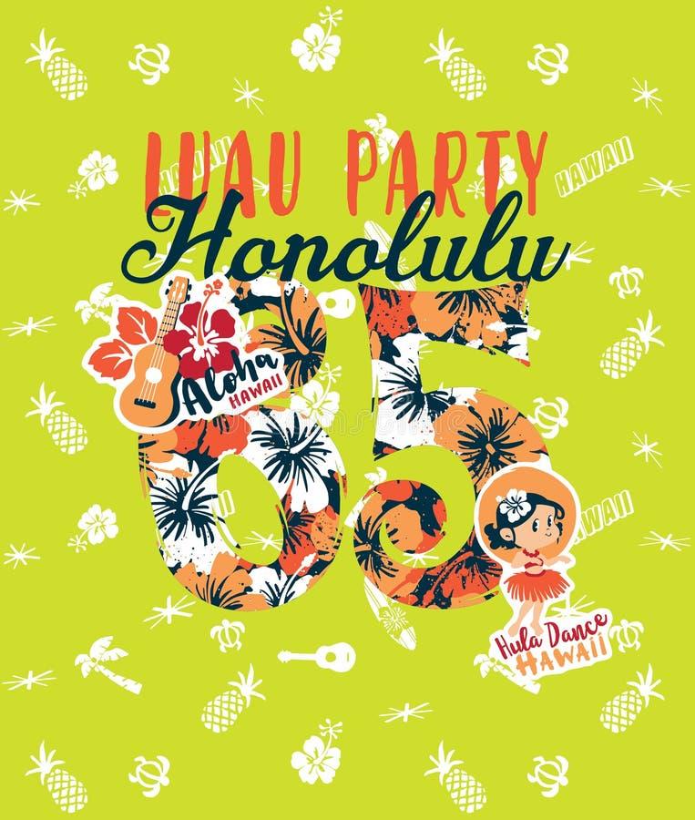 Partido lindo del luau de Honolulu de la muchacha del bailarín stock de ilustración