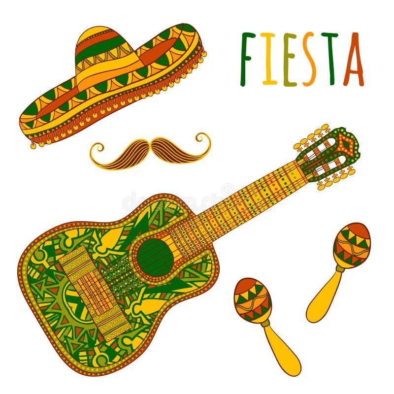 Partido mexicano da festa Maracas, sombreiro, bigode e guitarra ilustração royalty free