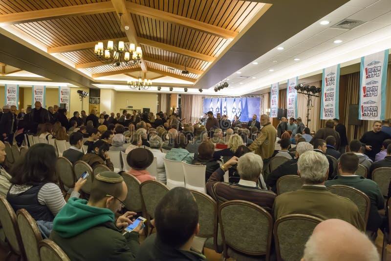 Partido NDI do ativo da reunião em Ariel, Israel, antes das eleições a K imagem de stock