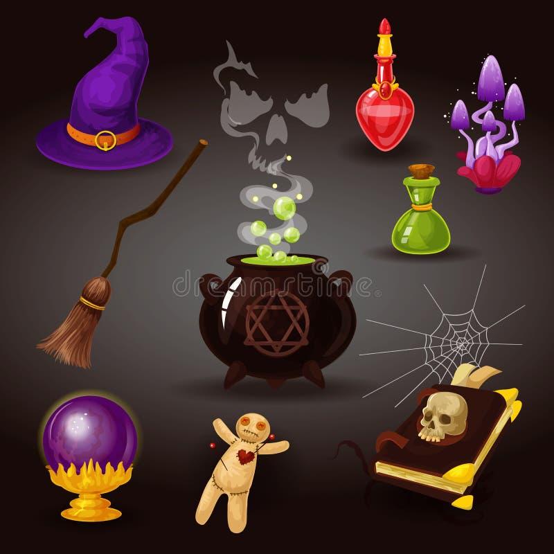 Partido o brujería, artículos de Helloween del mago ilustración del vector