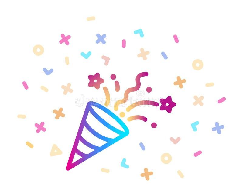 Partido Popper del confeti Icono colorido linear del vector stock de ilustración