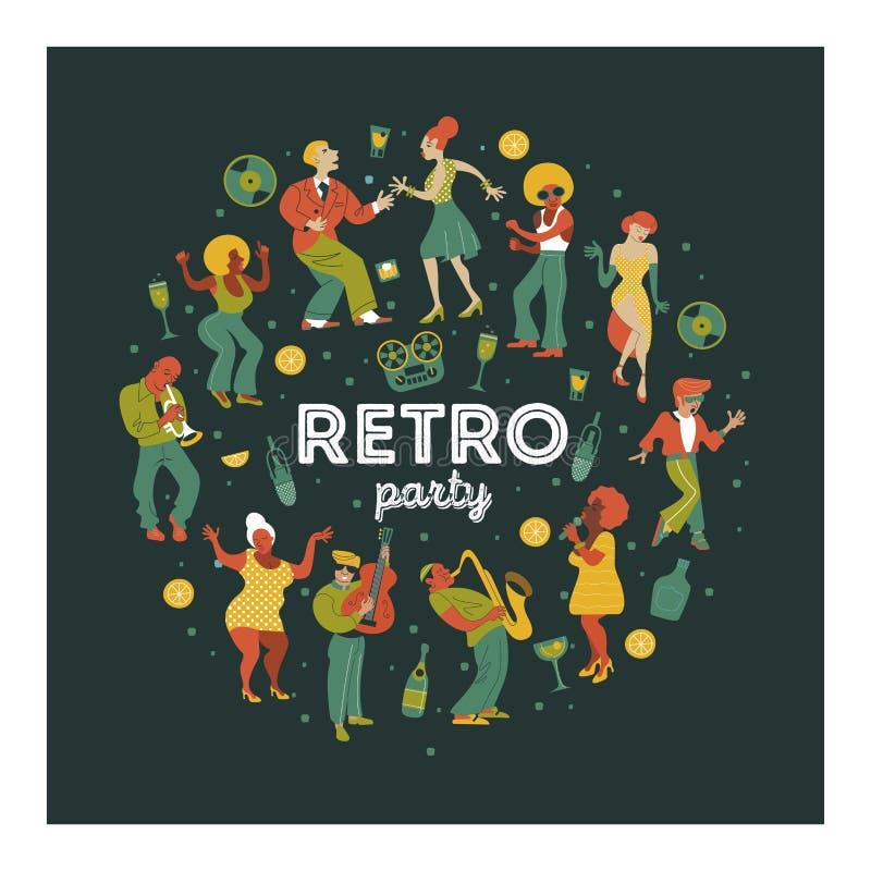 Partido retro Cartel del vector Ejemplo retro del estilo Música y danza en estilo retro Músicos y bailarines de jazz libre illustration