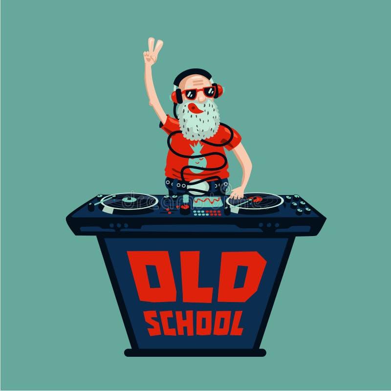 Partido retro de la escuela vieja Adulto mayor DJ con el vinilo ilustración del vector