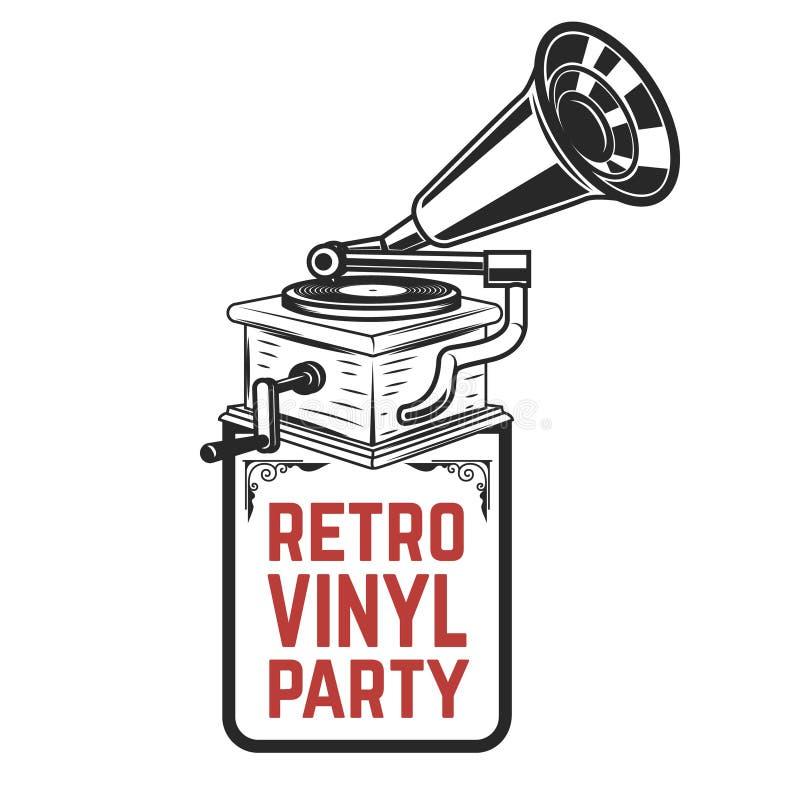 Partido retro del vinilo Gramófono del estilo del vintage Diseñe el elemento para el logotipo, etiqueta, emblema, muestra, insign libre illustration