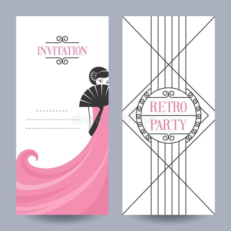 Partido retro do cartão ilustração royalty free
