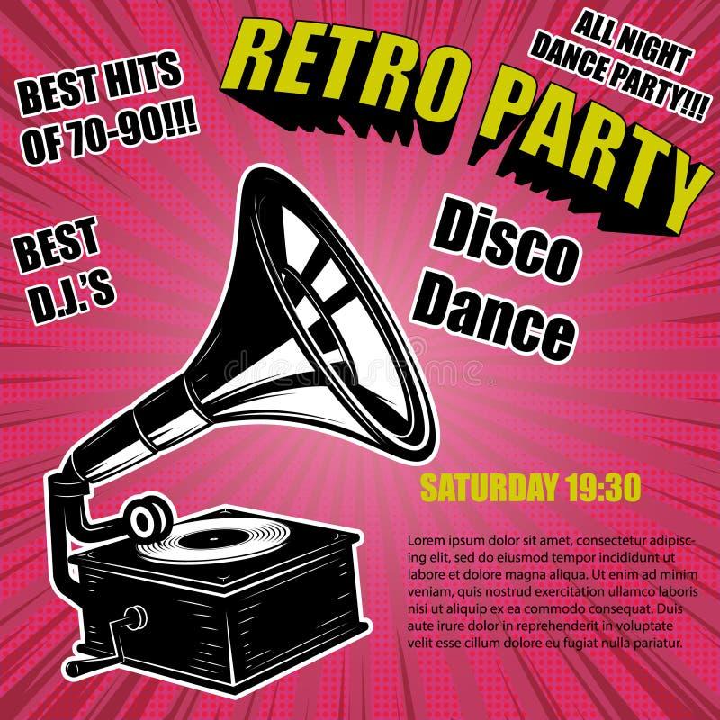 Partido retro Gramófono del vintage en fondo cómico del estilo Elementos del diseño para el cartel ilustración del vector
