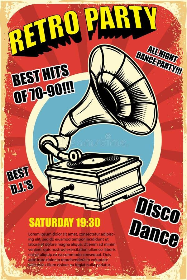 Partido retro Gramofone do vintage no fundo do grunge Elementos do projeto para o cartaz ilustração stock