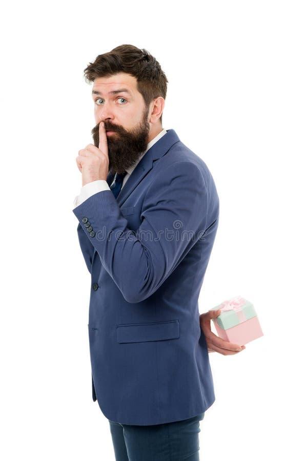 Partido secreto Sorpresa agradable Regalo para el cliente Fondo blanco formal de la caja de regalo del control de la ropa del inc imagen de archivo libre de regalías