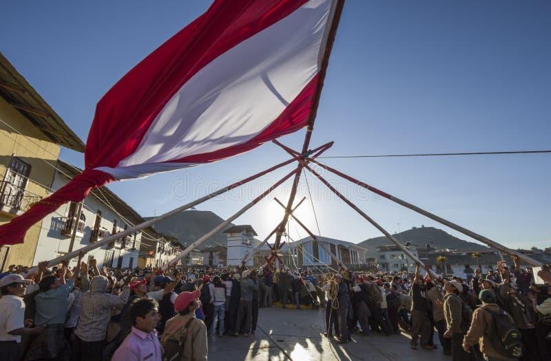 Partido tradicional de la bandera de Perú imagenes de archivo