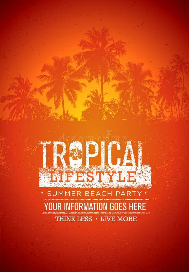 Partido tropical da praia do verão do estilo de vida Conceito criativo do cartaz do vetor Palmeira na ilustração afligida do fund ilustração stock