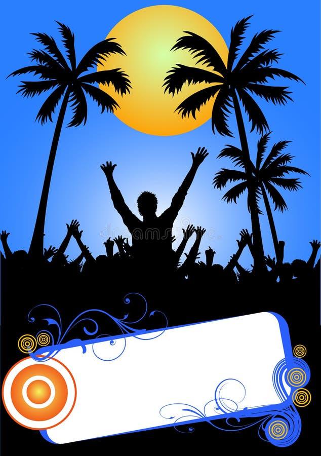 Partido tropical de la playa ilustración del vector