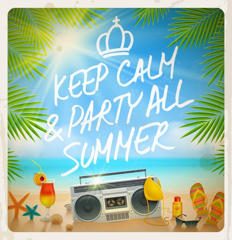 Partido tropical del verano de la playa ilustración del vector