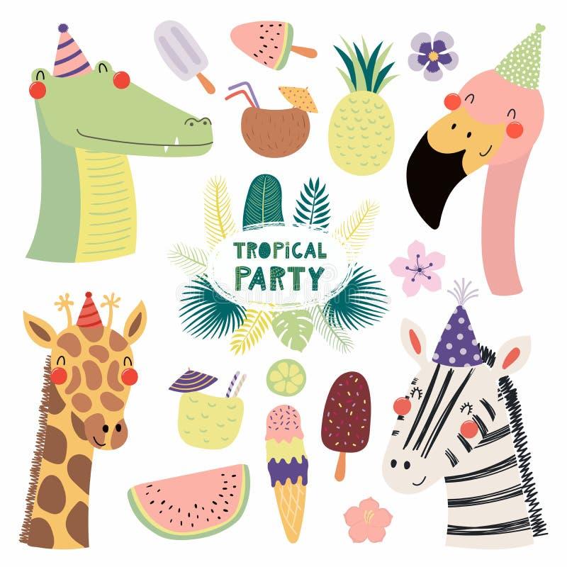 Partido tropical dos animais bonitos ilustração stock