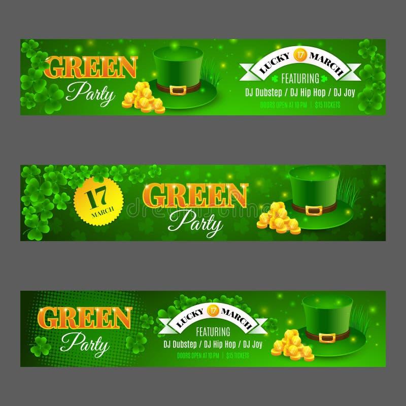 Partido Verde Fije con las banderas para el día de St Patrick de la celebración ilustración del vector