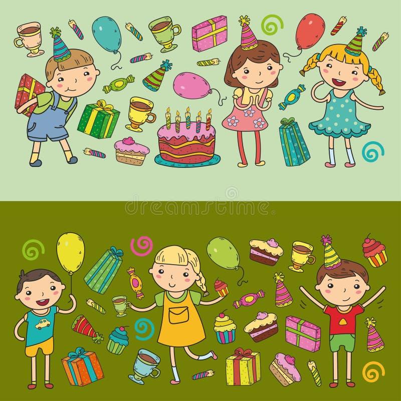 Partido y celebración del sombrero del cumpleaños del diseño del vector del feliz cumpleaños Niños de la guardería, partido de lo libre illustration