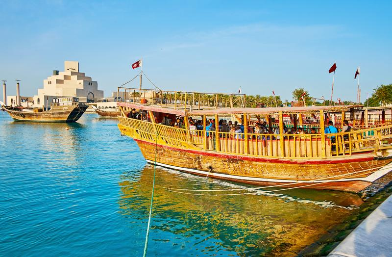 Partidos em barcos, Doha, Catar fotografia de stock