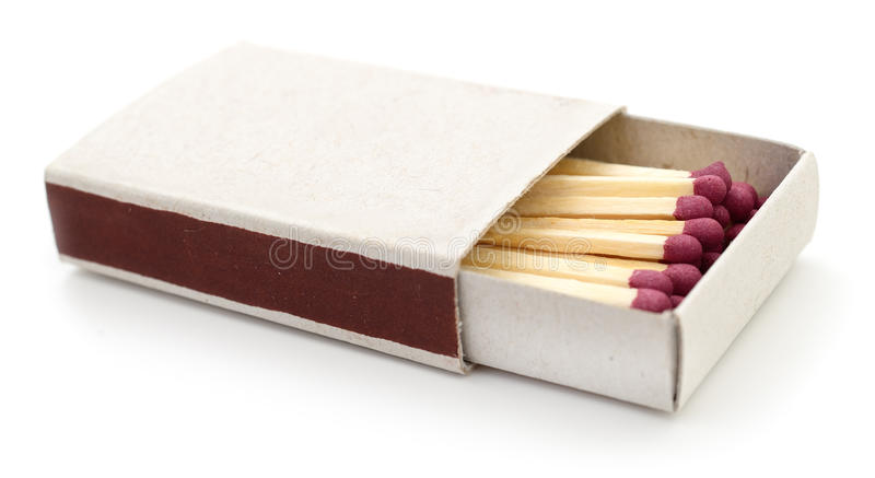 Partidos en una caja de cerillas imagen de archivo libre de regalías