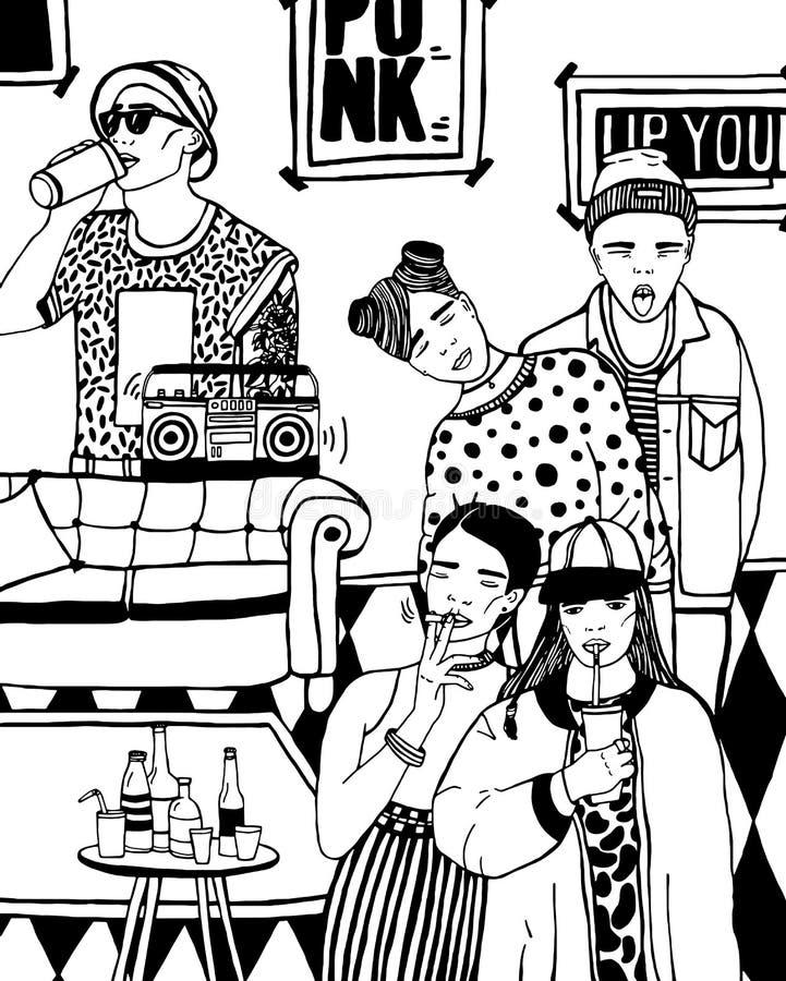 Partie à la maison avec la danse, les jeunes potables, musique Illustration noire et blanche tirée par la main illustration libre de droits