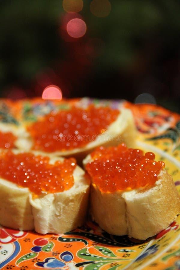 Partie avec le caviar rouge image libre de droits