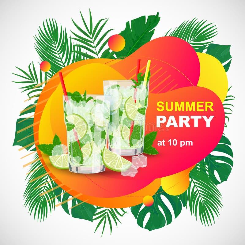 Partie d'été de plage d'affiche de vecteur avec des couples de cocktail de Mojito illustration stock