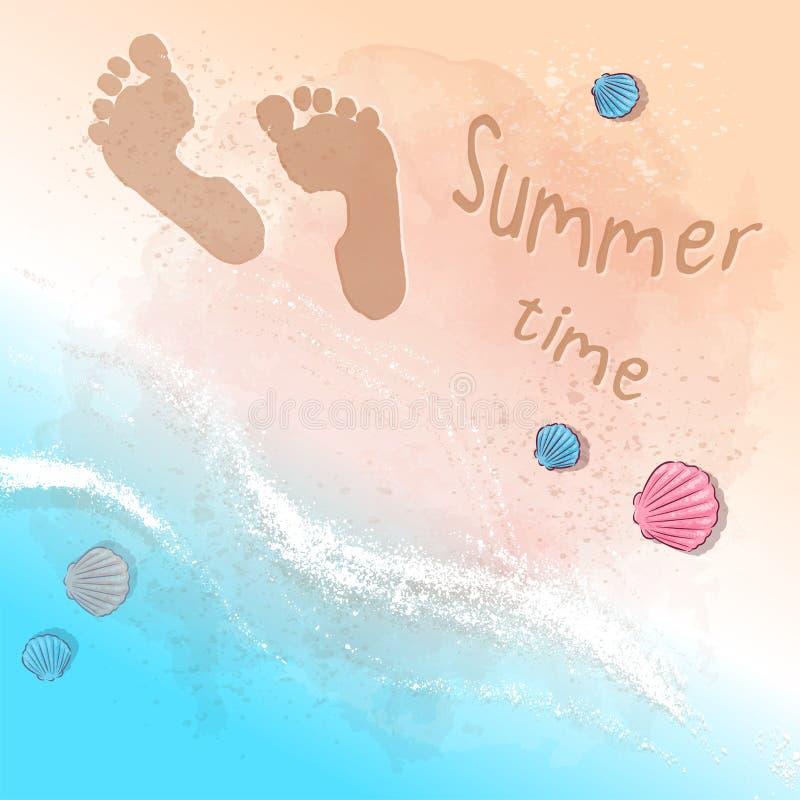 Partie d'été de plage d'impression de carte postale avec des empreintes de pas sur le sable par la mer Style de dessin de main illustration de vecteur