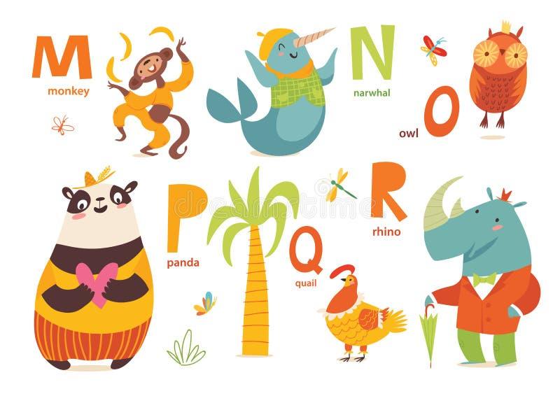 Partie d'ABC d'animaux avec les animaux et les lettres mignons de bande dessinée M. de lettres illustration stock